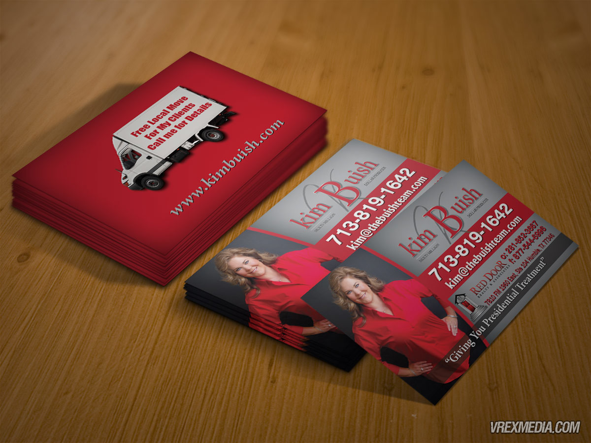 business card design red door realty kim buish
